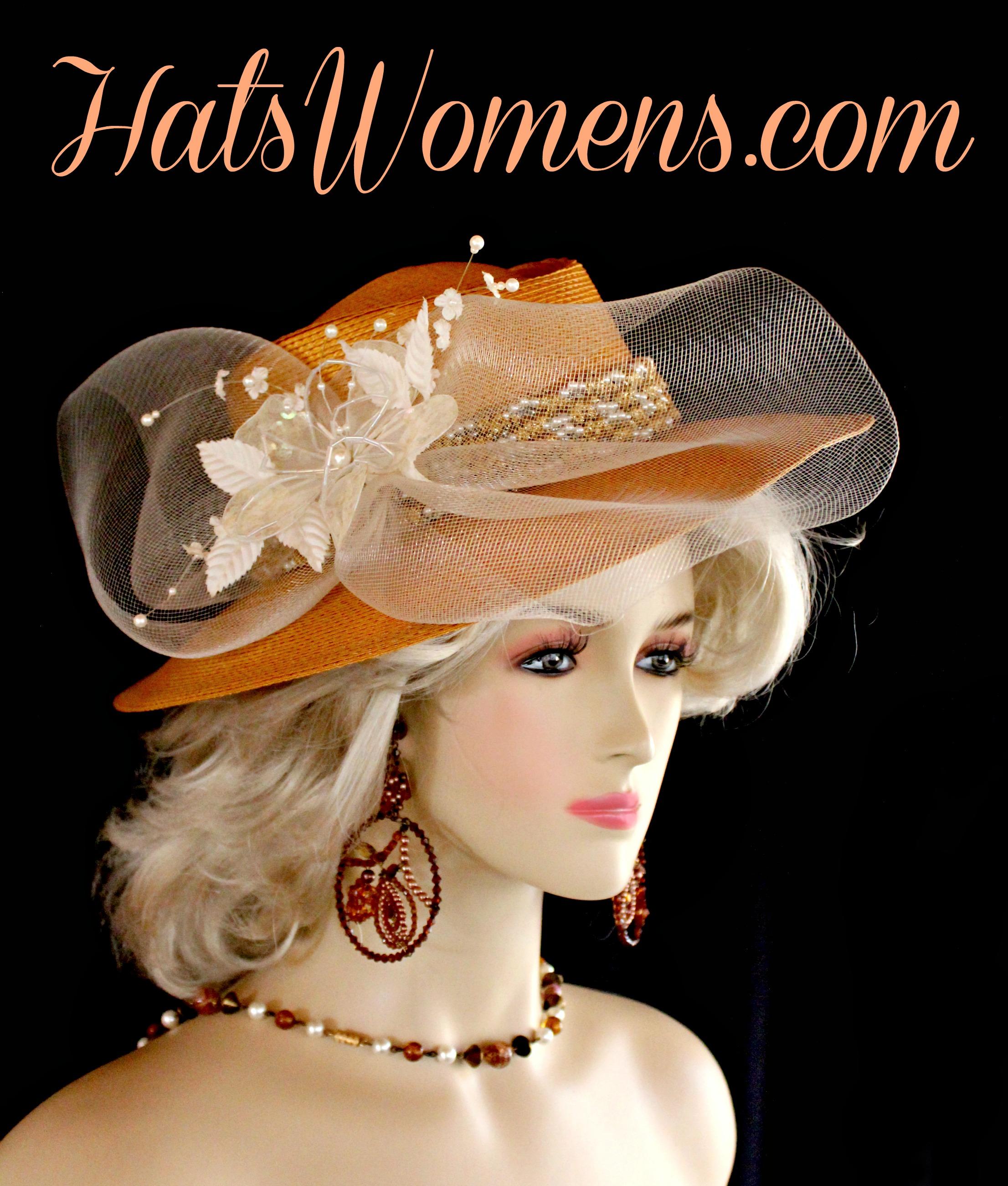 Ladies Antique Metallic Gold White Ivory Western Hat e381c06c27c6
