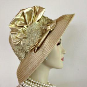 Antique Metallic Gold Satin Designer Fashion Women s Hat Church Wedding  Formal Hats c0380ea9946