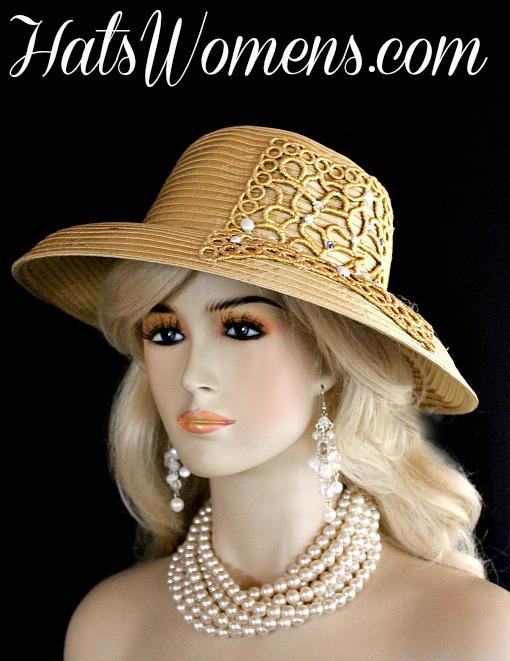 eea870aee7db8 Antique Gold Satin Pearl Rhinestone Applique Designer Wedding Couture Hat