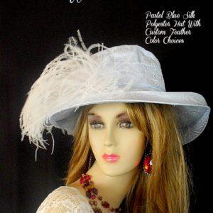 Women s Designer Pastel Baby Blue Or Black Silk Polyester Custom Fashion Hat  Feathers 9dbb3799a45
