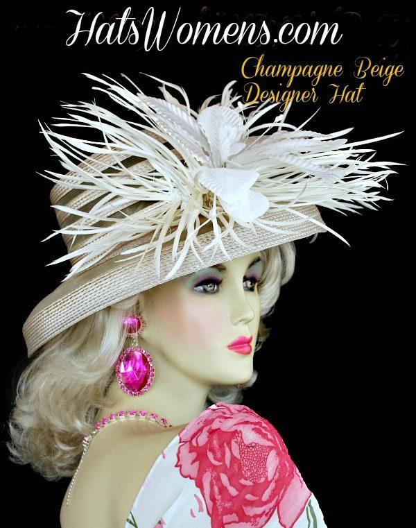 fcf264c9751 Champagne Beige White Dress Designer Feather Hat ...