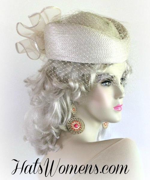 21a2c56b910 Beige Designer Pillbox Wedding Special Occasion Hat