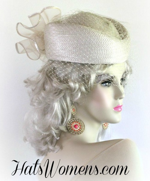 Beige Designer Pillbox Wedding Special Occasion Hat 23ab55d799c