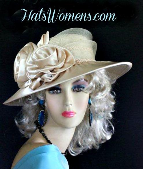 3b35c5ea1769d Woman s Champagne Beige Wide Brim Satin Bridal Designer Wedding Hat ...