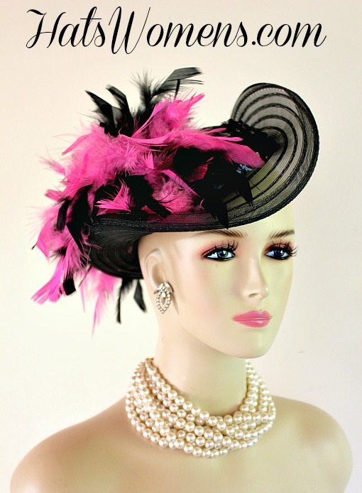 Black Satin Hot Pink Women s Designer Formal Fashion Hat ad0b1a69a357
