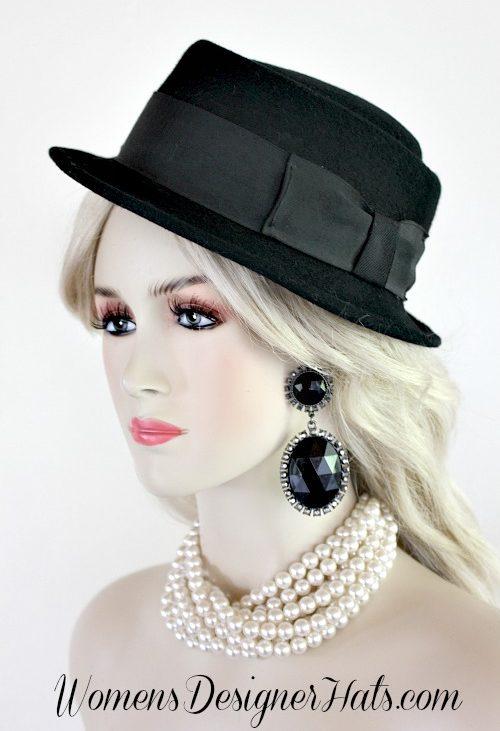 1fd7c8fe1a4 Ladies Vintage Jazz Age Pork Pie Black Winter Wool Hat