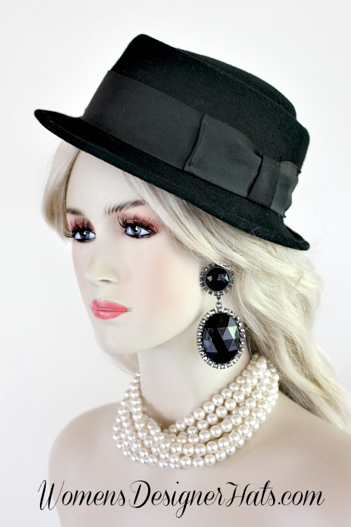 Ladies Vintage Jazz Age Pork Pie Black Winter Wool Hat ... e8871a0ef95