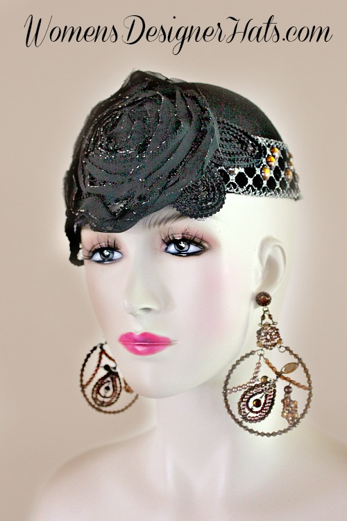 Black Orange Silver Winter Wool 1920 s Juliet Cap Flapper Cocktail ... 0ff74f67b40