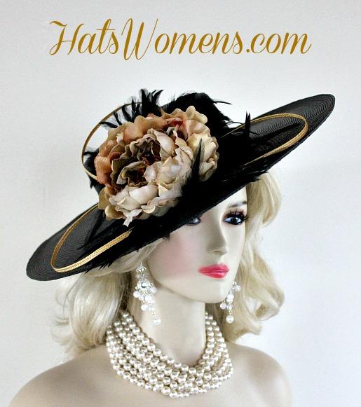 ff5065ee79e Ladies Black Gold Wide Brim Designer Fashion Feather Hat Beige Brown  Flowers