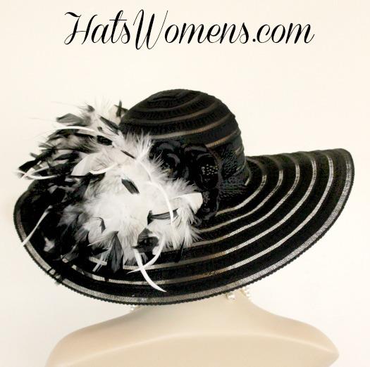 Ladies Black White Wide Brim Church Wedding Designer Fashion Hat ... 17c183bd6