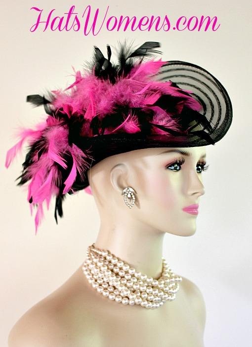 Black Satin Hot Pink Women S Designer Formal Fashion Hat Victorian