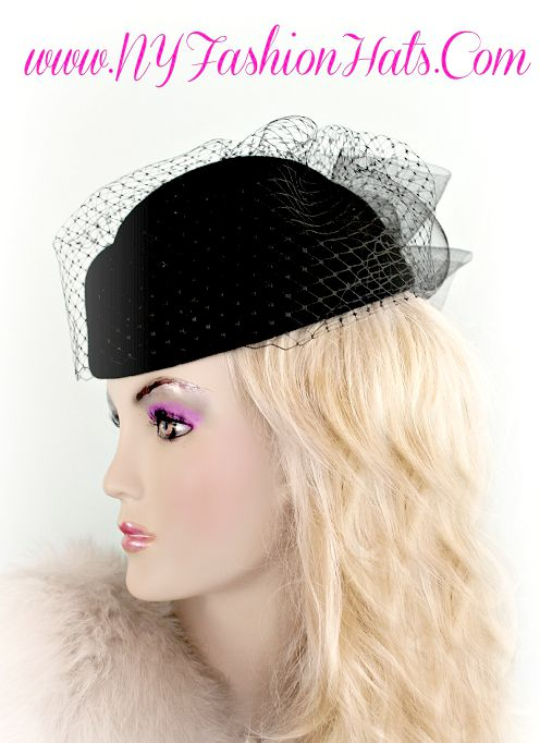 6c9eb15b8 Ladies Black Winter Wool Pillbox Dress Hat With A Veil, Designer Hats For  Women,