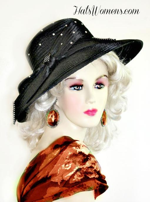 Ladies Designer Satin Hat Pink Royal Blue White Beige Black Navy