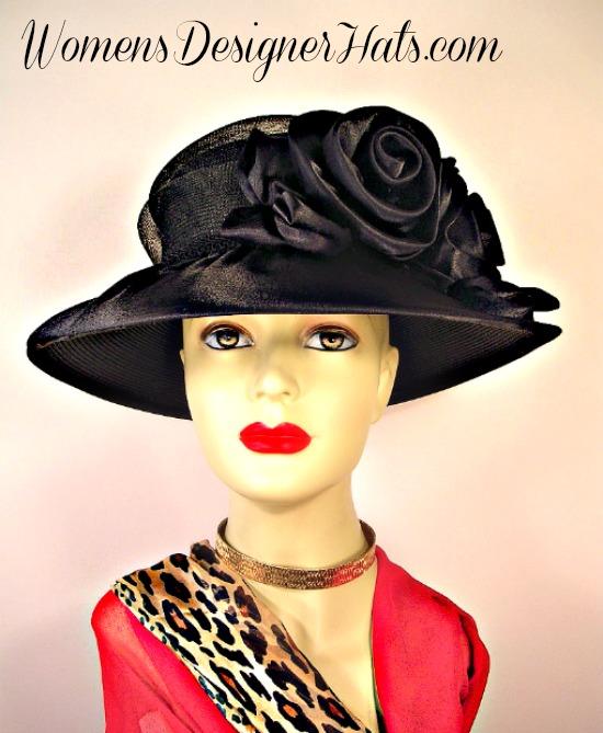 Woman s Black Wide Brim Satin Bridal Designer Wedding Funeral Hat ... 217250996c2