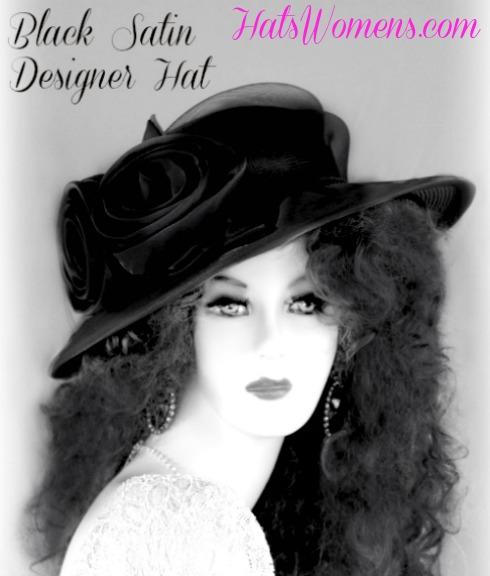 7a48078c8a8 Woman s Black Wide Brim Satin Bridal Designer Wedding Funeral Hat ...