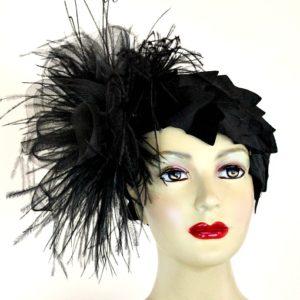 a08c62e24a3f5 ... Black Sinamay Straw Cloche Flapper Vintage Wedding Bridal Cocktail  Pillbox Hat