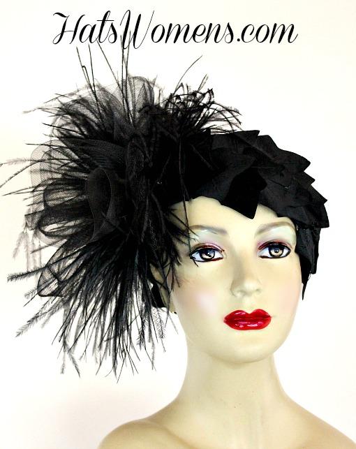Black Sinamay Straw Cloche Flapper Vintage Wedding Bridal Cocktail Pillbox  Hat b2b099b8093