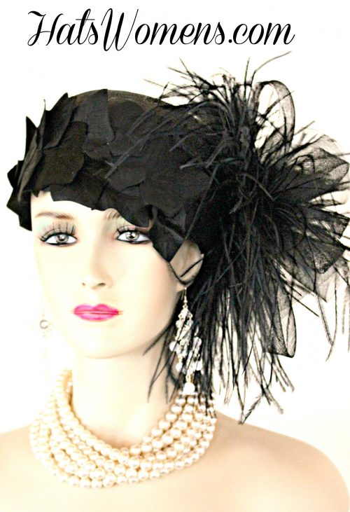 e29026d7c3f Black Sinamay Straw Cloche Flapper Vintage Wedding Bridal Cocktail Pillbox  Hat