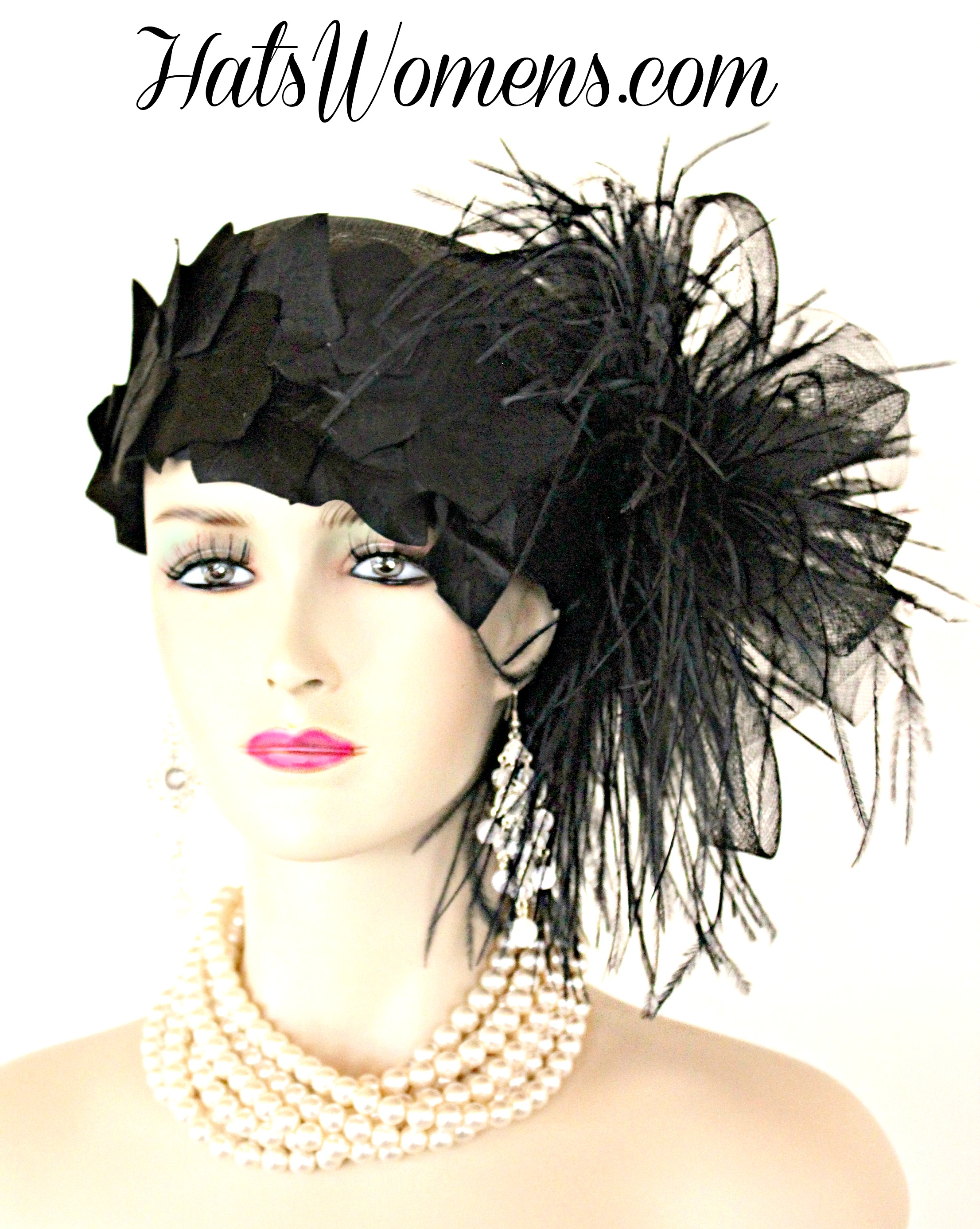 bb5e9c2363b Black Sinamay Straw Cloche Flapper Vintage Wedding Bridal Cocktail Pillbox  Hat