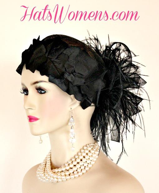 312c2a51fc3 Black Sinamay Straw Cloche Flapper Vintage Wedding Bridal Cocktail Pillbox  Hat