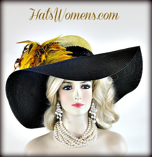 a96ed8616357c Ladies Black Yellow Straw Wide Brim Couture Kentucky Derby Hat Feathers