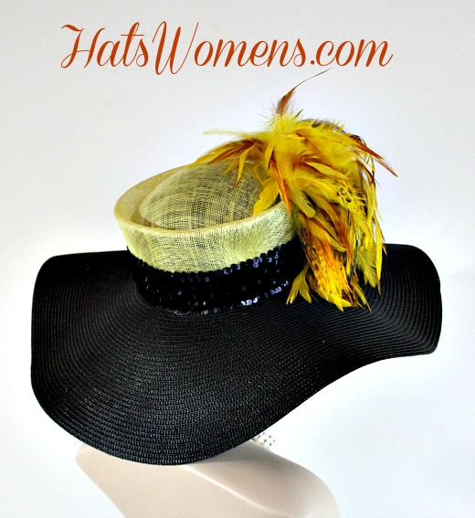 ceca9ebc55d Ladies Black Yellow Straw Wide Brim Couture Kentucky Derby Hat Feathers