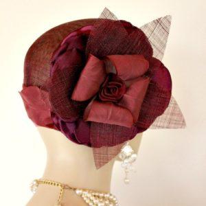 ce17ff9f0cf48 ... Burgundy Sinamay Straw Cloche Flapper Vintage Wedding Bridal Cocktail  Pillbox Hat