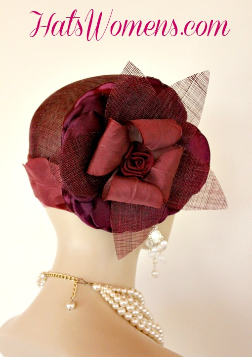 2184d45010e Burgundy Sinamay Straw Cloche Flapper Vintage Wedding Bridal Cocktail  Pillbox Hat