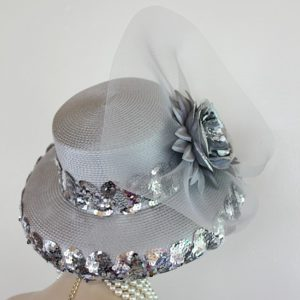 Metallic Silver Grey Designer Fashion Hat Wedding Formal Church Bridal Hats 7e5339b09de