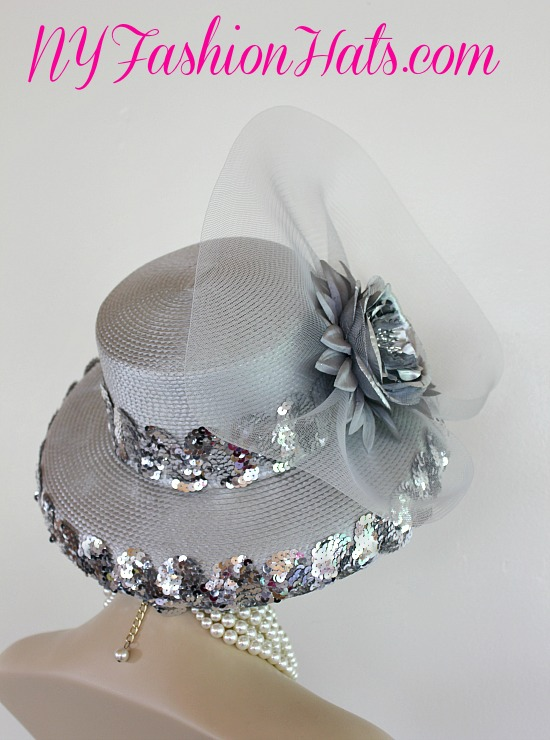 acad43ee9ab5c Metallic Silver Grey Designer Fashion Hat Wedding Formal Church ...