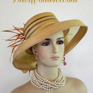22f8ce04afe84 Woman s Designer Gold Formal Church Special Occasion Hat