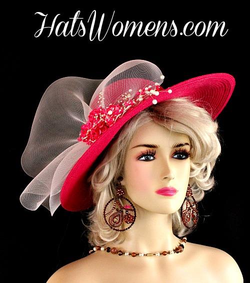 eaaa636d58871 Fuchsia Magenta Hot Pink White Wide Brim Designer Derby Hat Wedding Hats