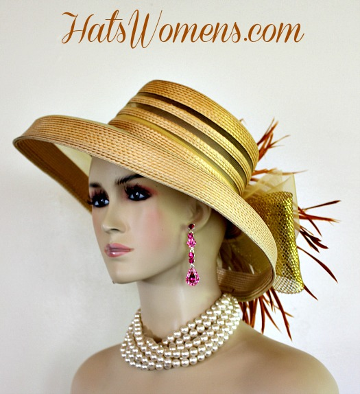 33895fe0305c2 Woman s Designer Gold Formal Church Special Occasion Hat ...