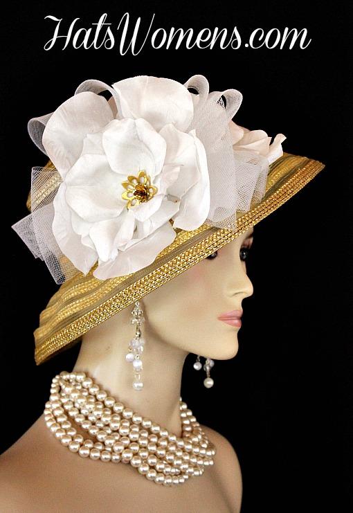 dfc5356b46d Metallic Gold White Sheer Brim Church Wedding Special Occasion Hat Women s  Designer Fashion Derby Hats