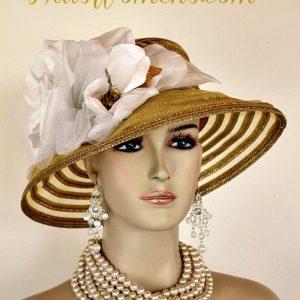 Metallic Gold White Sheer Brim Church Wedding Special Occasion Hat Women s  Designer Fashion Derby Hats 235bbf7fb46