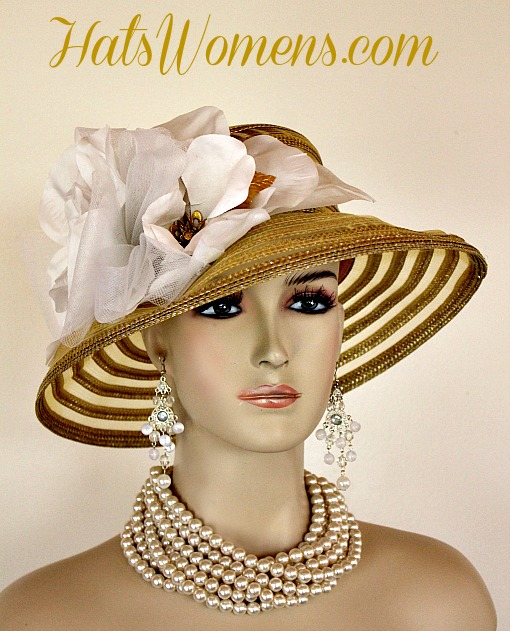 Metallic Gold White Sheer Brim Church Wedding Special Occasion Hat Women s  Designer Fashion Derby Hats 62d0f27c4ea