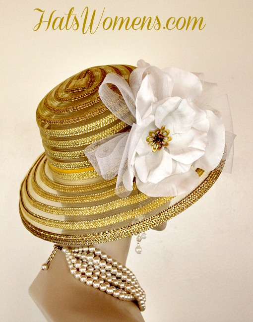 2cd6925ac4e3a Metallic Gold White Sheer Brim Church Wedding Special Occasion Hat Women s  Designer Fashion Derby Hats