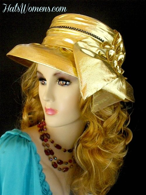 d4fd0687eb720 Women s Metallic Gold Black Rhinestone Designer Wedding Church Formal  Holiday Hat