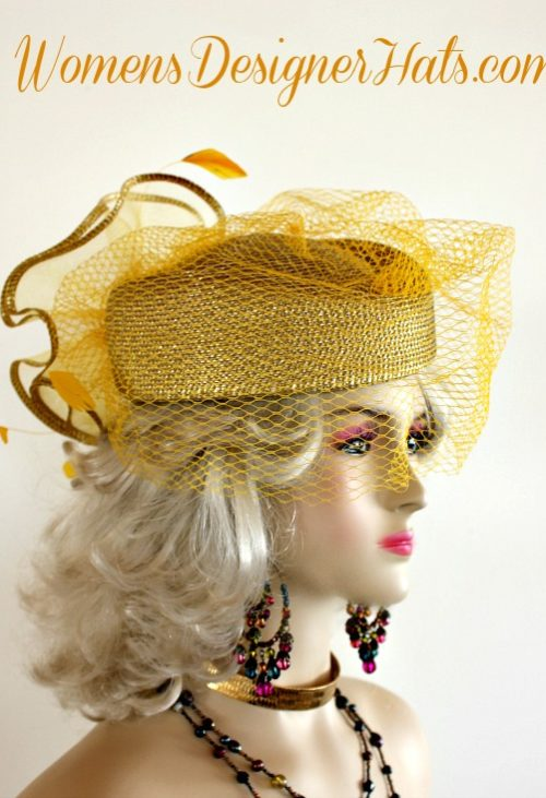bf49dde21ca36 Metallic Gold Designer Pillbox Fashion Hat Women Wedding Formals Hats