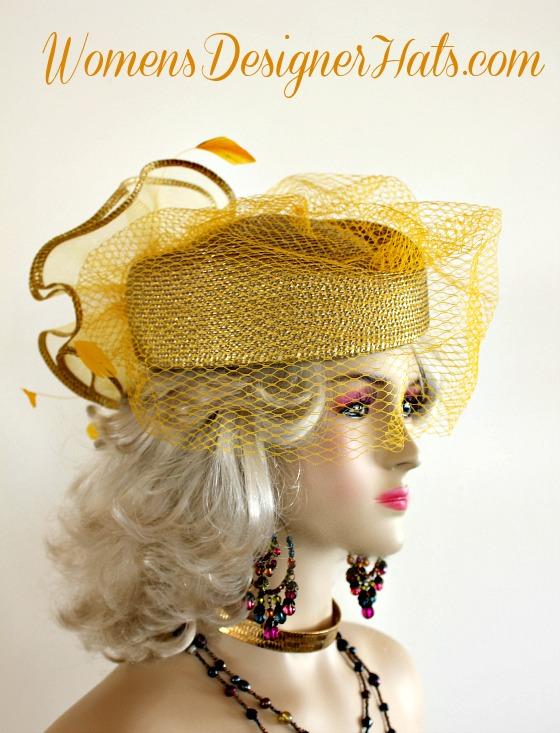 6480b6c8605 Metallic Gold Designer Pillbox Fashion Hat Women Wedding Formals ...