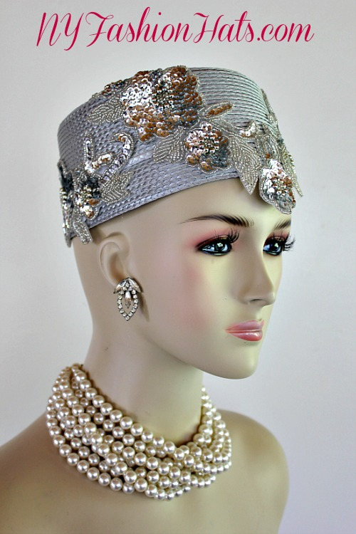 Silver Grey Metallic Silver Pillbox Cocktail Hat Wedding