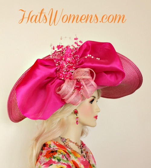 Hot Pink White Wide Lift Up Brim Kentucky Derby Hat Bridal Weddings Hats