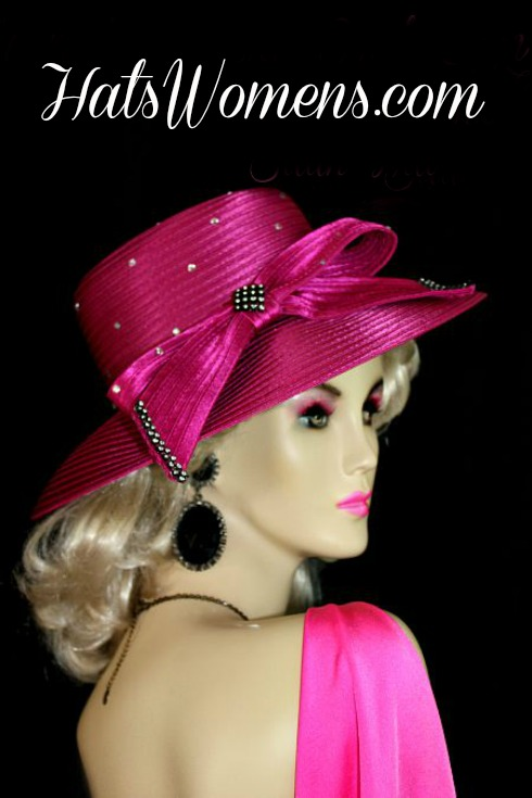 Women s Magenta Fuchsia Pink Satin Wedding Church Formal Hat ... a2e81bd58cc