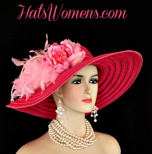 77488c5396111 Ladies Hot Pink Wide Brim Church Wedding Designer Fashion Hat Feathers  Flower