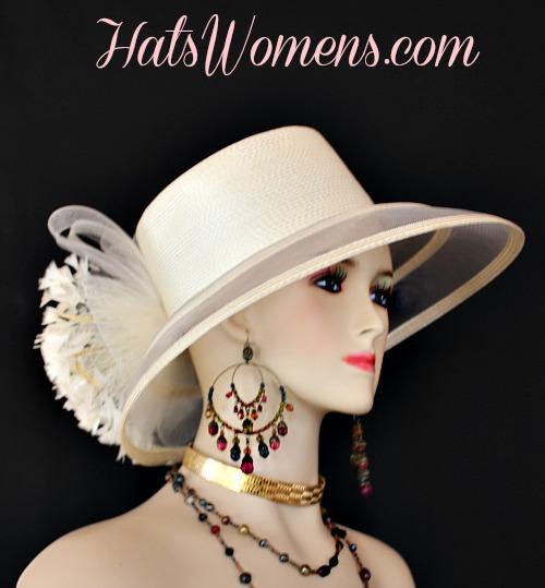 665befc196a Ladies Black White Wide Brim Church Wedding Designer Fashion Hat ...