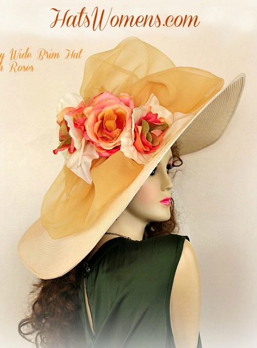 2c36ca5aa67d6 Ivory Coffee Beige Coral Peach Green Wide Brimmed Hat Designer Hats