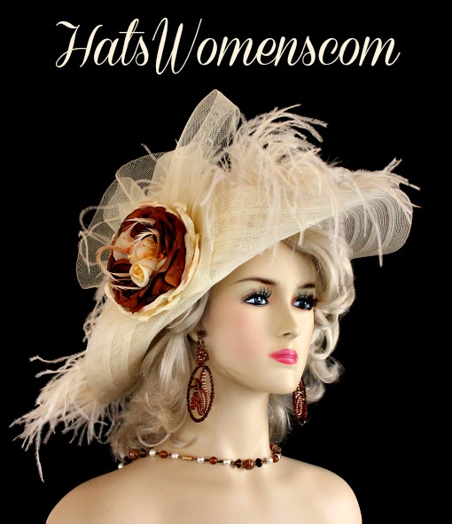279cfcb2526 Woman s Ivory Brown Wide Brim Kentucky Derby Hat Ostrich Feathers ...