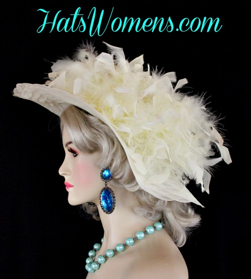 Ladies Ivory Wide Brimmed Designer Hat Choose Feather And Hat Colors b0decab25a47