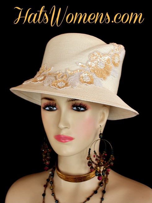 76cbdfaecc1cc Ivory Gold Beige Sequin Ladies Dress Hats Formal Designer Wedding Hats