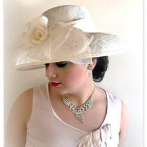 Ivory Sinamay Straw Wide Brim Wedding Hat Women s Designer Dress Hats 3d7d8460e2c